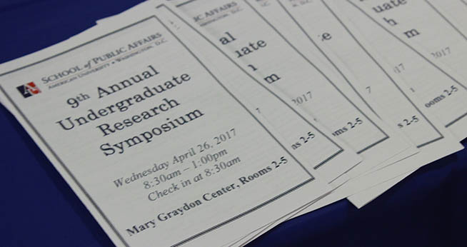 Cover page of the 9th Annual Undergraduate Research Symposium program.