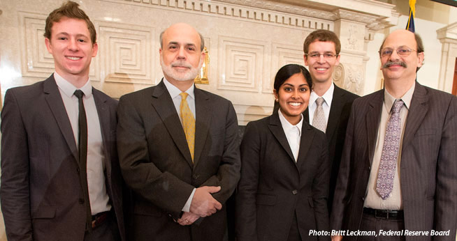 Zachary Smith, Ben Bernanke, Ayesha Cooray, and Peter Blankenship, and Evan Kraft; photo: Britt Leckman, Federal Reserve Board