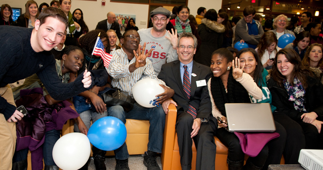 Dean Goldgeier and Students on Election Night