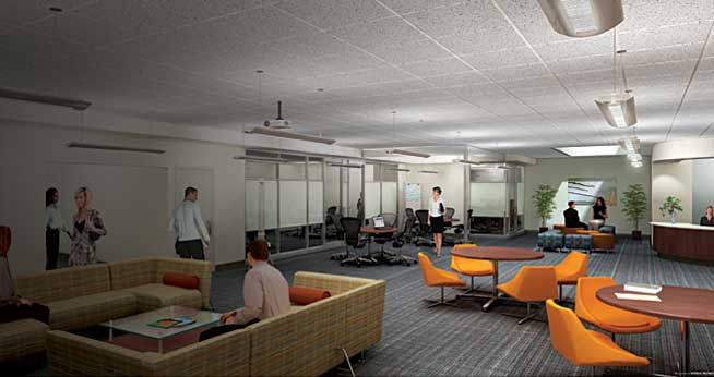 An artist's rendering of the Graduate Research Center.