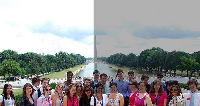 Students stand near the Washington Monument.