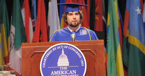 Drew Rosensweig, a Film and Media Arts major,  delivers a commencement address at the 2009 American University School of Communication Commencement ceremony.