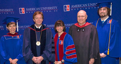 Katherine Aaron, American University president Neil Kerwin, Susan Zirinsky, BA '74, Executive Producer, CBS News, and School of Communication Dean Larry Kirkman, and Drew Rosensweig at the 2009 AU SOC Commencement Ceremony.