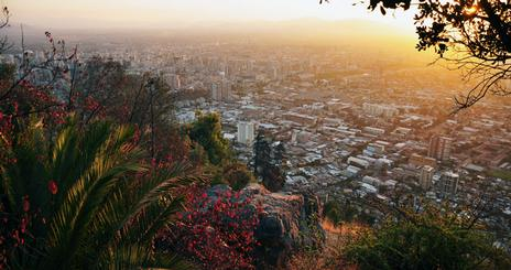 Sunset looking out over Santiago, Chile