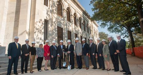 AU President Neil Kerwin and VP of Development and Alumni Relations Tom Minar gathered with university and student leadership on campus to help officially launch the construction work of the future home of AU's School of Communication.