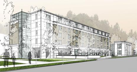 Architect's rendering of buildings looking east from Nebraska Avenue Intersection.