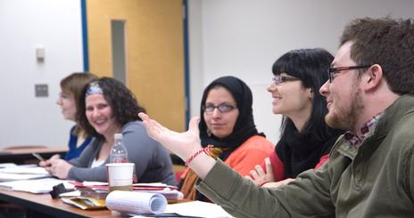 Students discuss during graduate seminar