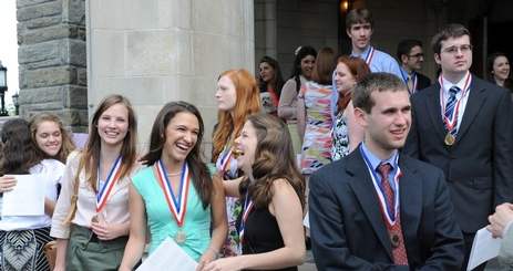 Honors Graduates celebrate after the Honors Convocation Ceremony at the American University in Washington, D.C.