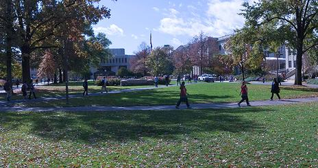 People walking on the quad on American University's main campus