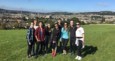 Mentorship Program in England students on a skyline walk with views of Bath, England