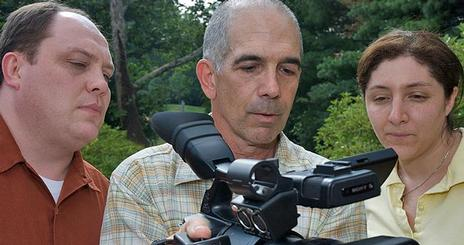 Professor Larry Engel gives tips to students on using the SONY Ex-1 camera as they prepare for Classroom in the Wild: Alaska