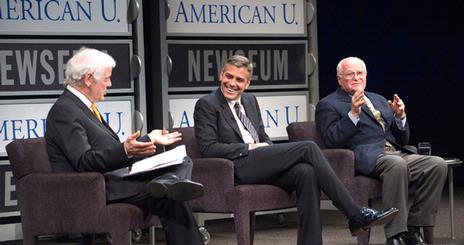SOC's Nick Clooney was joined by his son, George Clooney, and Bill Small of the National Television Academy at a Reel Journalism® series sponsored by SOC and the Newseum.