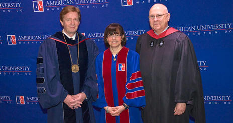 American University president Neil Kerwin; Susan Zirinsky, executive producer, CBS News; School of Communication Dean Larry Kirkman at the AU SOC 2009 Commencement