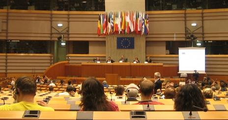 Inside the European Parliament Building in Brussels, Belgium.