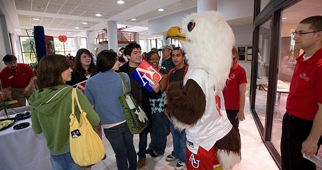 The AU mascot greets incoming students.