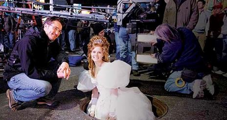 American University alum Barry Josephson with actress Amy Adams on the set of Enchanted, a film produced by Josephson.