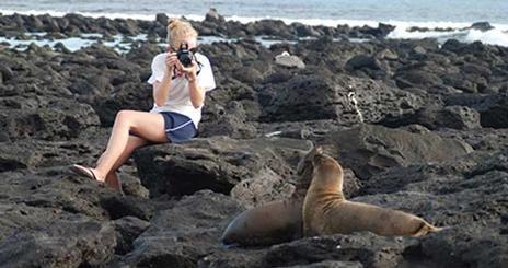 A student photographs sea lions in the Galapagos as part of an interdisciplinary course, The Practice of Environmentalism: Science, Policy and Communication in the Field