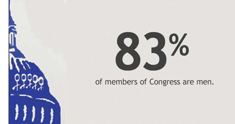 Photo illustration of the Capitol Building with text: 84% of Congress are male.