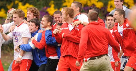 AU Men's Soccer Team Celebrates a Win