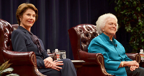 First ladies Laura and Barbara Bush