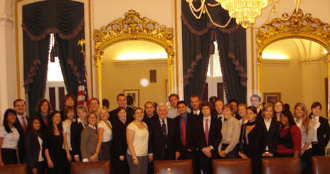 Students with Senator Richard Lugar in the U.S. Capitol