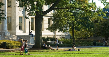 Students walk on the American University quad.