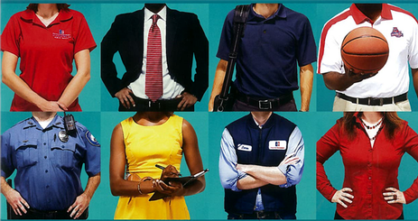 Images of 8 people, which includes a University Police Officer, man holding a basketball, man in a Facilities uniform, a woman in a shirt, a man in a polo shirt, a woman in a button-down shirt, a man in a suit, and a woman in a dress