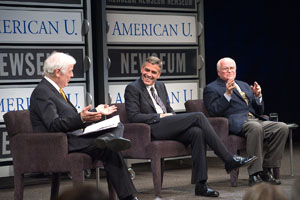 NIck and George Clooney with Bill Small at Reel Journalism Event held with SOC partner the Newseum