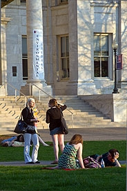 Students on the quad in front of Hurst Hall on American University's main campus