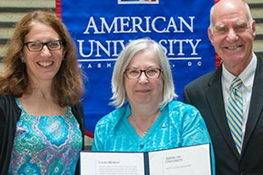 President Burwell (left), Laura Murray (middle), and Provost Bass (right)