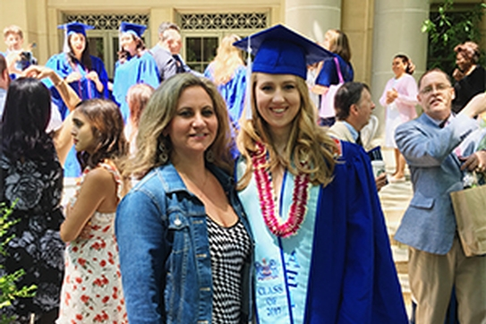 Lisa Rosenthal (left) and Melanie Ziemnik (right) outside of Kogod on Melanie's graduation day.