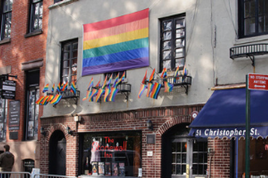 Rainbow flags hang outside of the Stonewall Inn.