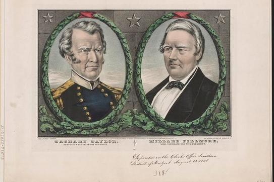 Campaign banner for Whig Party candidates in the national election of 1848, promoting Zachary Taylor and Millard Fillmore