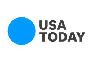 Texts reading USA today next to bright blue circle