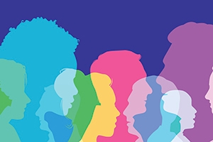 Blue, pink, yellow, and purple faces with a darker blue backdrop. The AUx2 course on race and social identity will be mandatory for all first-year students next year.