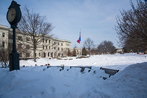A photo of campus buried under snow dumped on the area during the blizzard of January 2016.
