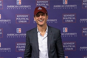 Tony Goldwyn wearing an American University hat