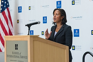 National Security Advisor Susan Rice giving an address in the SIS atrium.