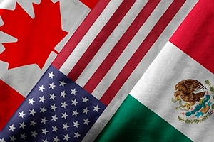 Canadian, American, and Mexican flags.