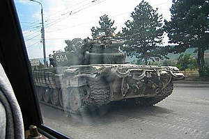 Eric Lohr snapped this photo of a Georgian tank from his car. (Photo courtesy of Eric Lohr)