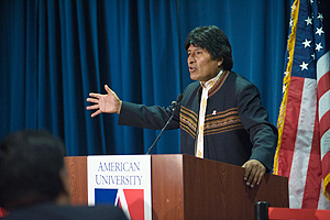 Bolivian President Evo Morales speaks at American University