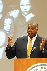 Washington College of Law professor Perry Wallace shares his experiences and insights on America's progress toward racial equality. (Photo: Jeff Watts)