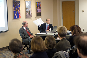 Provost Scott Bass and Vice President Don Myers discuss the budget at a town hall meeting. (Photo: Jeff Watts)