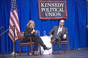 Former White House press secretaries Dee Dee Myers and Ari Fleischer spoke during a Kennedy Political Union event. (Photo: Jeff Watts)