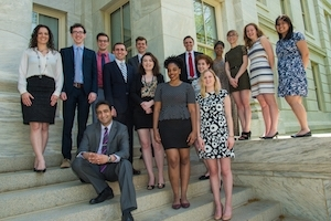 2016 Student Award recipients on the steps of Hurst Hall