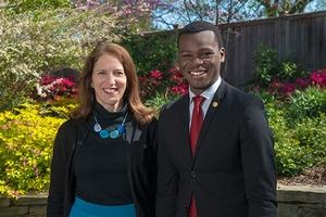 AU President Sylvia Burwell with Shyheim Snead