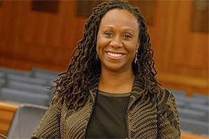 A photo of Camille A. Nelson, the new dean of the American University Washington College of Law.
