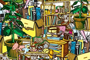 The book 'Chasing Empty' will examine our complicated relationships with material possessions. Photo: Shelves and boxes overflow with personal items, creating a colorful collection of clutter. Photo Credit: iStock/tom-iurchenko