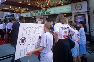 A photo by Ken Garrett of people protesting plans for Disney Theme park in Virginia.