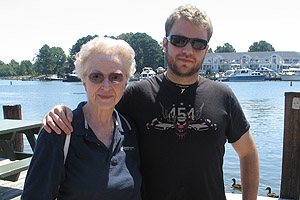 Andy Sides, '11, a recipient of the Alumni Assocation Scholarship, with his grandmother, Virginia Ruff, CAS/BA '72.